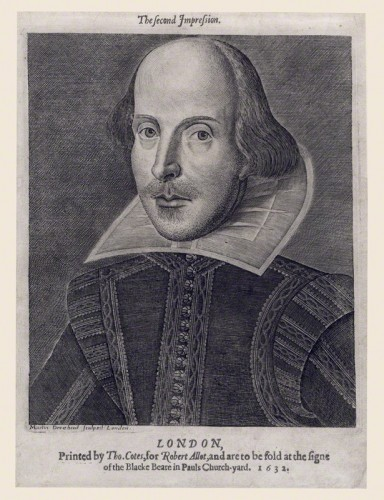 A confirmed engraving of William Shakespeare as printed with a compilation of his works in 1632. The same portrait was published in 1623 with Shakespeare's First Folio. Courtesy of the National Portrait Gallery, London.