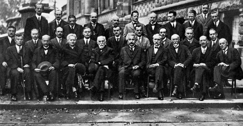 The 1927 Fifth Solvay Conference on the implications of the new quantum theory, led by Albert Einstein front and center. Courtesy of the Daily Mail.