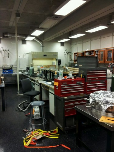 : A general view of Professor Schroer's lab depicts the equipment necessary to conduct such a sophisticated microstructure. Courtesy of Dr. Baran Sarac.