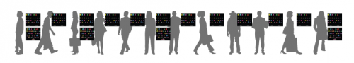 A representation of individual karyotypes that depict the physical structure of each person's chromosome. Those with two karyotypes have a cancer genome that forms when a person contracts the illness (which disrupts normal genome replication). Courtesy of Mark Gerstein.