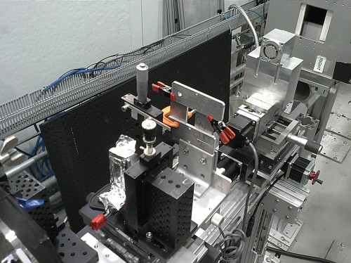 The MIT/NASA team's prototype neutron microscope during initial testing at the Oak Ridge National Laboratory. Courtesy of MIT.