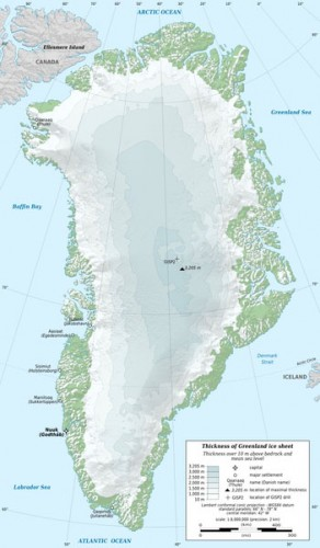 During the winter months, an ice sheet covers as much as 80% of Greenland's landmass. Image courtesy of Eric Gaba.