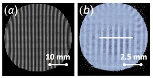 Image of a sample neutron grating on left, and a four-fold magnified image captured using the prototype neutron microscope. Courtesy of MIT.