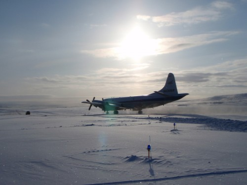NASA's Operation IceBridge used airborne radar to collect data on the topography hidden beneath the ice sheet. Image courtesy of NASA.