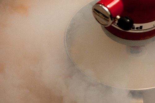 Liquid nitrogen can be used as one mode of cooling the ice cream mixture to allow for ice crystal formation. Courtesy of 101 Cookbooks.