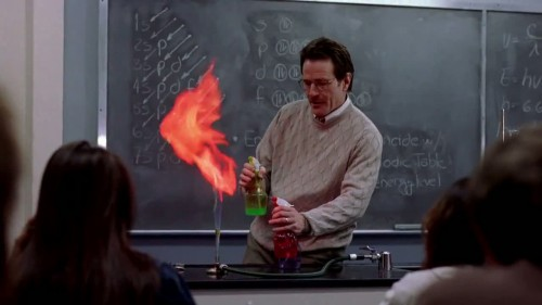 High school chemistry teacher, Walter Walt, discusses a lesson about the study of matter. Here, Walt demonstrates the ability of electrons to change their energy levels when excited.