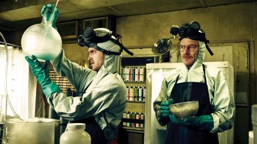 "Business partners Walter White and Jesse Pinkman cook their specialty crystal methamphetamine called ""Blue Sky."" This blue-tinged crystal is produced by a special formula that Walt concocts after acquiring large amount of methylamine, an important reactant that allowed the duo to produce this new, pure, and potent product."