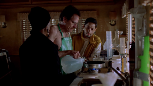 Cornered by two drug lords, Walt attempts to instruct the two about his special method of producing pure crystal methamphetamine. Realizing his own fate, Walt throws red phosphorous into boiling water to produce a highly poisonous phosphine gas to ultimately kill his two enemies.