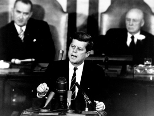 Kennedy delivers his mandate to send an American to the Moon by the end of the Decade. Courtesy of the NASA History Office.
