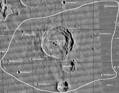 The Bullialdus crater, which has a diameter of 38 miles, provides scientists with an ideal site to study surface sediments that may have originated from deep below the Moon's crust.  Courtesy of the USGS Digital Atlas of the Moon. http://the-moon.wikispaces.com/Bullialdus.