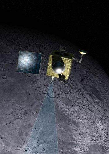 An artist's rendition of the Moon Mineralogy Mapper shows the instrument orbiting the Moon. Light enters a main lens where it is subsequently filtered through prisms to produce a spectrum corresponding to a specific set of elements on the surface.  Courtesy of Dan Roam. http://www.nbcnews.com/science/moon-water-discovery-hints-mystery-source-deep-underground-8C11022792.