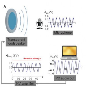 In the Harvard researchers' experiment, the voltage signal from the audio output of a laptop was fed through a high-voltage amplifier to the ionic speaker. Through its vibrations, the speaker transformed the voltage signal into sound, which was recorded by a microphone. Courtesy of Keplinger et al.