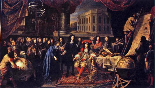 Depiction of Jean-Baptiste Colbert presenting the members of the Royal Academy of Sciences to Louis XIV, who founded the Academy in 1666. Courtesy of Wikipedia.