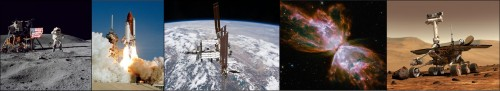 Space Exploration through the years: a photographic timeline of major achievements. NASA has lead the space effort for many years, through generations of space craft, satellite and exploratory probe. Courtesy of NASA.