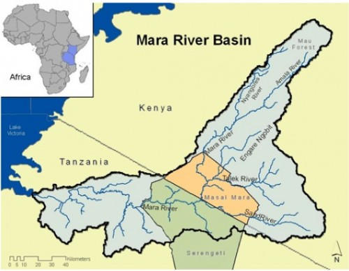 The path of the Mara River. It runs through both Kenya and Tanzania, including the Serengeti, before flowing into Lake Victoria. Courtesy of Global Water for Sustainability.