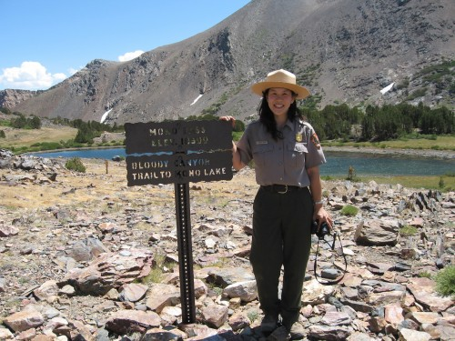 Some of Yenyen's days consist of longer ranger-led hikes, here to Mono Pass (10,599 ft.) Courtesy of Yenyen Chan.