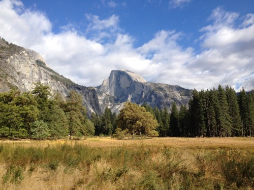 The famous Half Dome can be seen from Yosemite Valley, the central ranger station in the park. Courtesy of Yenyen Chan.