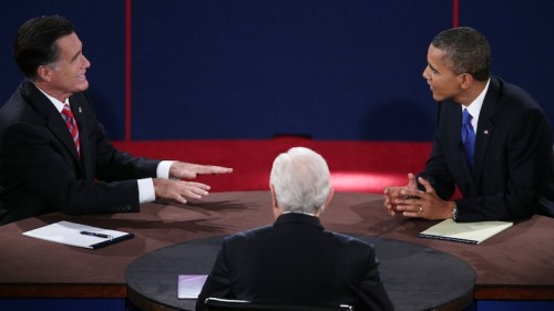 The results of the study suggest that eye contact between opponents — such as Obama and Romney in this presidential debate — may foster aggression rather than agreement. Courtesy of Getty Images.