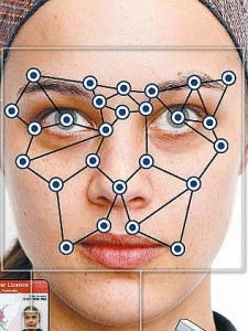 An example of how a two dimensional driver's license photo can be analyzed by computer software to construct a three dimensional image. Based on lighting and angles, the algorithm locates key areas on the face to compare. Courtesy of Trunews.