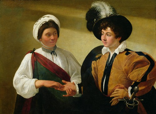 "Two figures lock eyes in Caravaggio's ""The Fortune Teller."" Courtesy of Fine Art America."