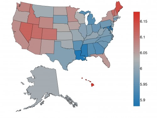 Average word happiness scores were calculated for each of the fifty states based on tweets. A map displaying the variation in these scores shows the geographic trends in happiness levels across the United States. Courtesy of Lewis Mitchell.