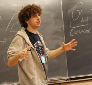 Horowitz teaches physics for the spring session of Splash 2012, which drew more than 300 students from the area. Courtesy of Splash at Yale and Ben Horowitz.