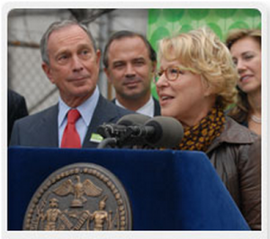 Mayor Michael Bloomberg announcing the launch of the MillionTreesNYC project in October 2007. Courtesy of Daniela Avila, NYC Park Department.