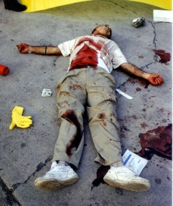 A homicide crime scene. Picture courtesy of Homicide Training.