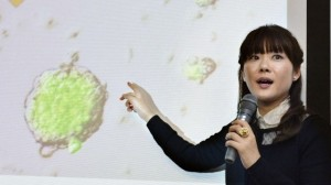 Dr. Haruko Obokata of the RIKEN Centre for Developmental Biology presents her research at a press conference. Image courtesy of BBC News.