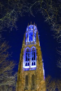 Autism awareness is growing as more is understood about the disease. Shown: Yale's Harkness Tower lit up in blue for World Autism Awareness Day 2013. Photographed by Jiahe Gu.