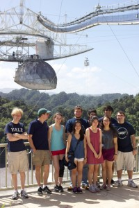 A group of students in ASTR 255 at the rim of the observatory's collecting dish. Image courtesy of the Yale Astronomy Department.