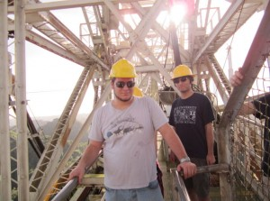 Students on a catwalk atop the Arecibo Observatory's collecting dish.  Image courtesy of the Yale Astronomy Department.