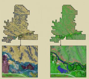The UHPSI's high resolution land cover data of the ranch (right) significantly trumps that of the National Land Cover Database. Image courtesy of the Ucross High Plains Stewardship Initiative.