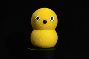 Keepon is the small yellow snowman-like robot used in this experiment. Image courtesy of the Scassellati lab.