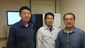 2.(From left) Tao Wu, Andrew Xiao and Yifei Liu pictured in front of their sequencing system.