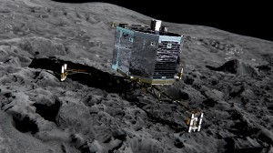 Artist's impression of Philae lander on Comet 67P/Churyumov-Gerasimenko. Philae will be deployed in November 2014. Photo courtesy of European Space Agency (ESA).