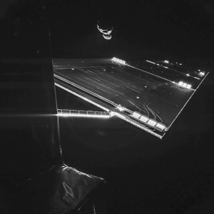 Using the CIVA camera on Philae lander, Rosetta snapped a selfie at the comet on September 7, 2014. Photo courtesy of European Space Agency (ESA).