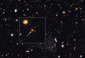 Image taken with Hubble Telescope, with an arrow pointing to Sparky.  Image courtesy of NASA, ESA, Erica Nelson.