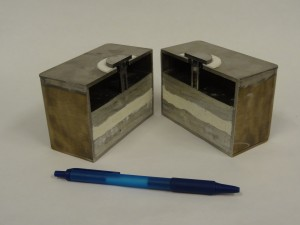 This cross-section, of one of the Sadoway Lab's early 4-inch prototype of the battery, demonstrates the simplicity of both the concept and the design. It also shows that the battery can be scaled up or down, depending on its intended purpose. Image Courtesy of Donald Sadoway.