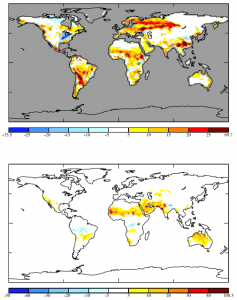 (Top panel) This color-coded map of the world shows regional change in vegetational isoprene emissions (mgC m-2 day-1) from the Mid-Pliocene to the preindustrial period. The deeper the yellow to red color, the more isoprene emissions decreased over time. Only the scattered blue regions represent increases in isoprene emissions by trees and plants. (Bottom panel) Another graphic from Unger's paper, this map represents the change in soot emission from wildfires between the Mid-Pliocene and preindustrial periods (1×10-12 kg m-2 s-1). The color-coding functions the same way as in the isoprene emission map. (Image courtesy of Nadine Unger.)