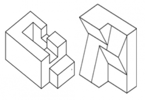 "These are examples of the images used in the Impossible Figures Task. Participants are asked to determine if each image can exist in 3D space. The left image is a ""possible"" image that can exist in 3D, while the right image is an ""impossible"" image that can't.  Image courtesy of Schacter, D.L.,Cooper, L.A.,Delaney, S.M., 1990. Implicit memory for unfamiliar objects depends on access to structural descriptions. J. Exp. Psychol. Gen. 119 (1), 5–24. http://dx.doi.org/10.1037/0096-3445.119.1.5"