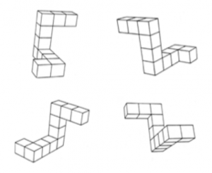 These are examples of the images used in the Mental Rotation Task. The top two images are considered to be the same object because one image is just a rotated version of the other. The bottom two are different objects because the configuration of the blocks differ.  Image courtesy of Peters, M. & Battista, C. (2007). Applications of mental rotation figures of the Shepard and Metzler type and description of a mental rotation stimulus library. Brain and Cognition, 66, 260–264.