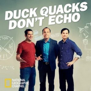 """Duck Quacks Don't Echo"" is a new trivia show hosted by (from left to right) Seth Herzog, Tom Papa, and Michael Ian Black. Image courtesy of Google Play."