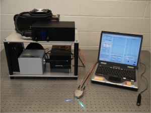 This first original setup for Raman Resonance Spectroscopy was used in Cartmel and Mayne's 2010 study to validate the reliability of skin tests as compared to blood tests. Image courtesy of Brenda Cartmel.