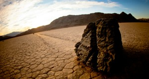 Researchers had cited everything from high-powered wind to thick ice sheets to algal films as possible mechanisms for the movement of the sailing stones in Death Valley. Image courtesy of ScienceNews