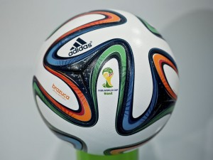 The new Brazuca ball design, with six panels and a rough surface, moves through the air predictably and with astonishing accuracy. Image courtesy of National Geographic.