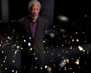 """Morgan Freeman questions whether the universe could be infinite as he strolls through glowing stars in the episode """"Is there an Edge to the Universe?"""" Image Courtesy of Discovery News."""