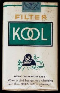 Packaging for an early brand of mentholated cigarettes highlights the pleasant nature of the smoking, as early advertisers stressed menthol's pharmaceutical value. Image courtesy of New York Times.