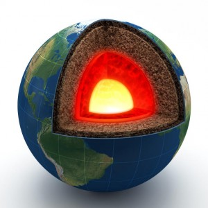From outside to in, the internal structure of the earth consists of the crust, the mantle, the outer core, and the two-layered inner core. Image Courtesy of Science Daily.