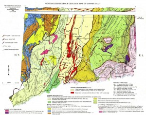 A geologic map shows old fault lines between different rock formations. Stress building up along these faults as the crust rebounds are likely responsible for the recent earthquake swarm. Image courtesy of Wesleyan University.